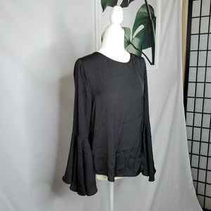 Who What Wear Black Boho Bell Sleeves Top Keyhole